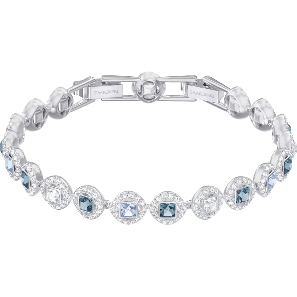 Swarovski Angelic Square Bracelet, Blue, Rhodium plated