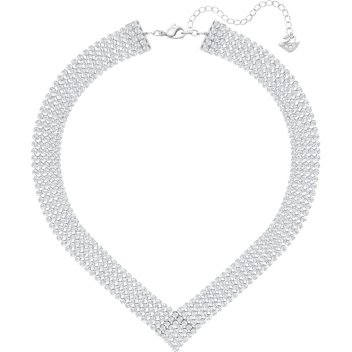 Swarovski Fit Necklace, White, Palladium plated