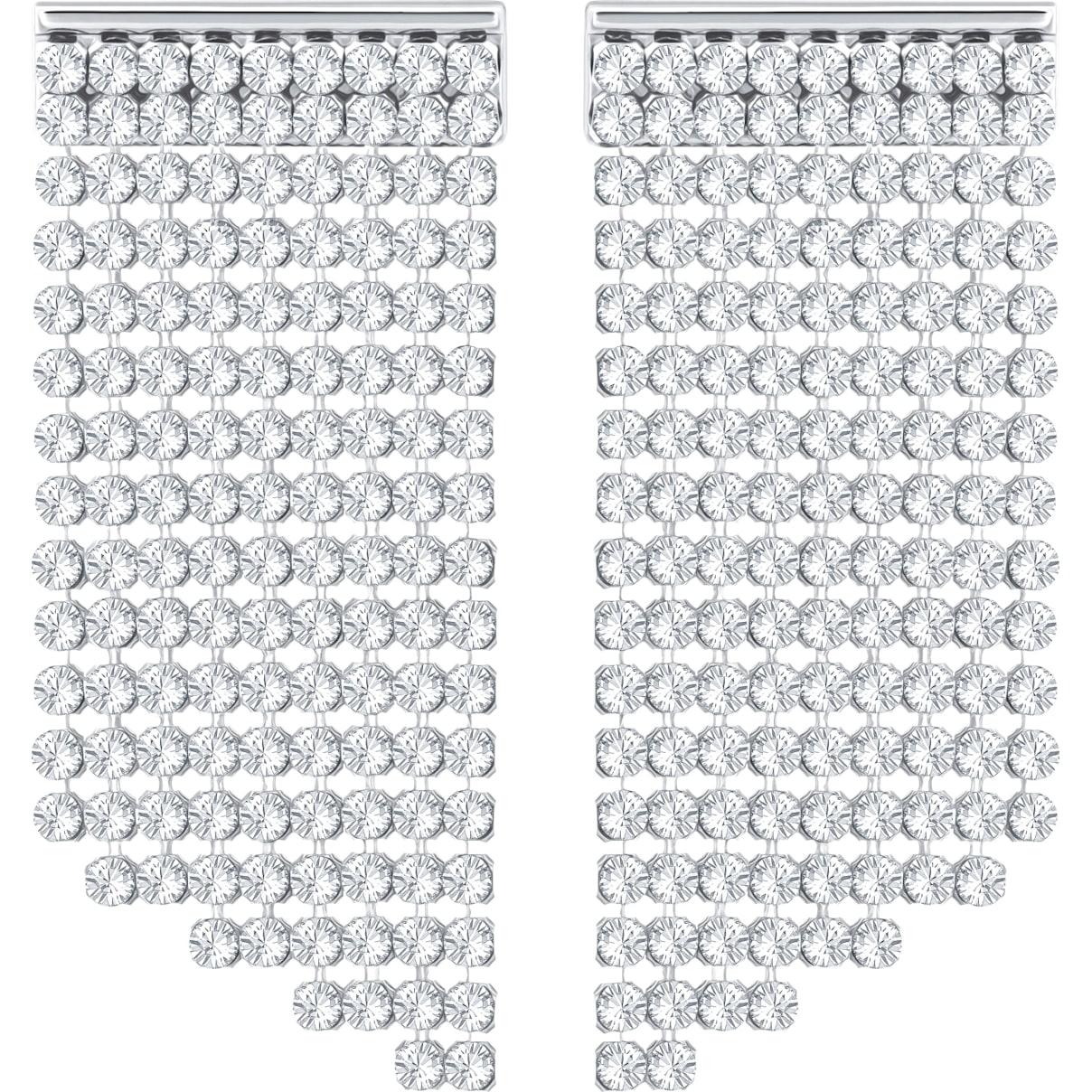 Swarovski Fit Pierced Earrings, White, Palladium plated