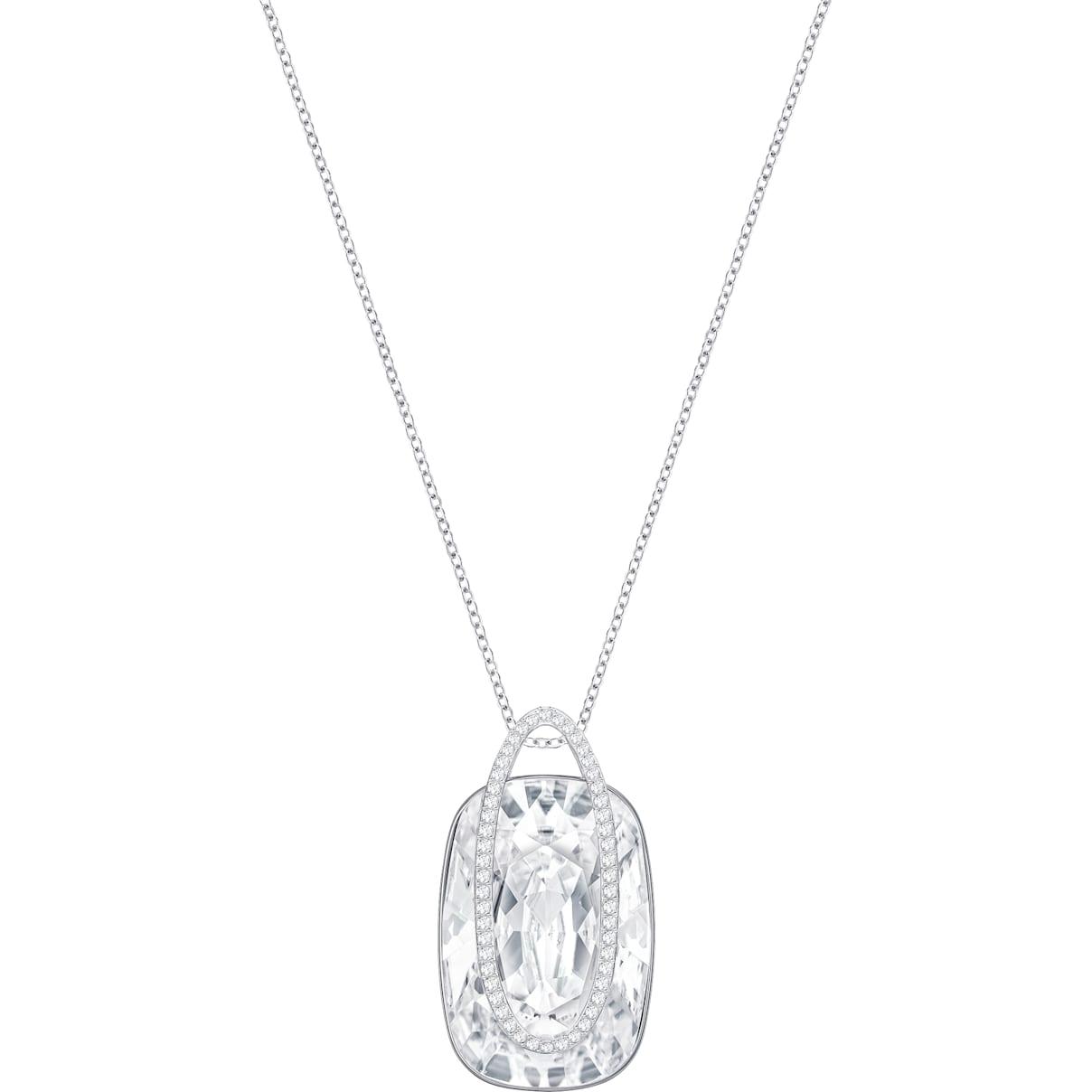Swarovski Holding Necklace, White, Rhodium plating