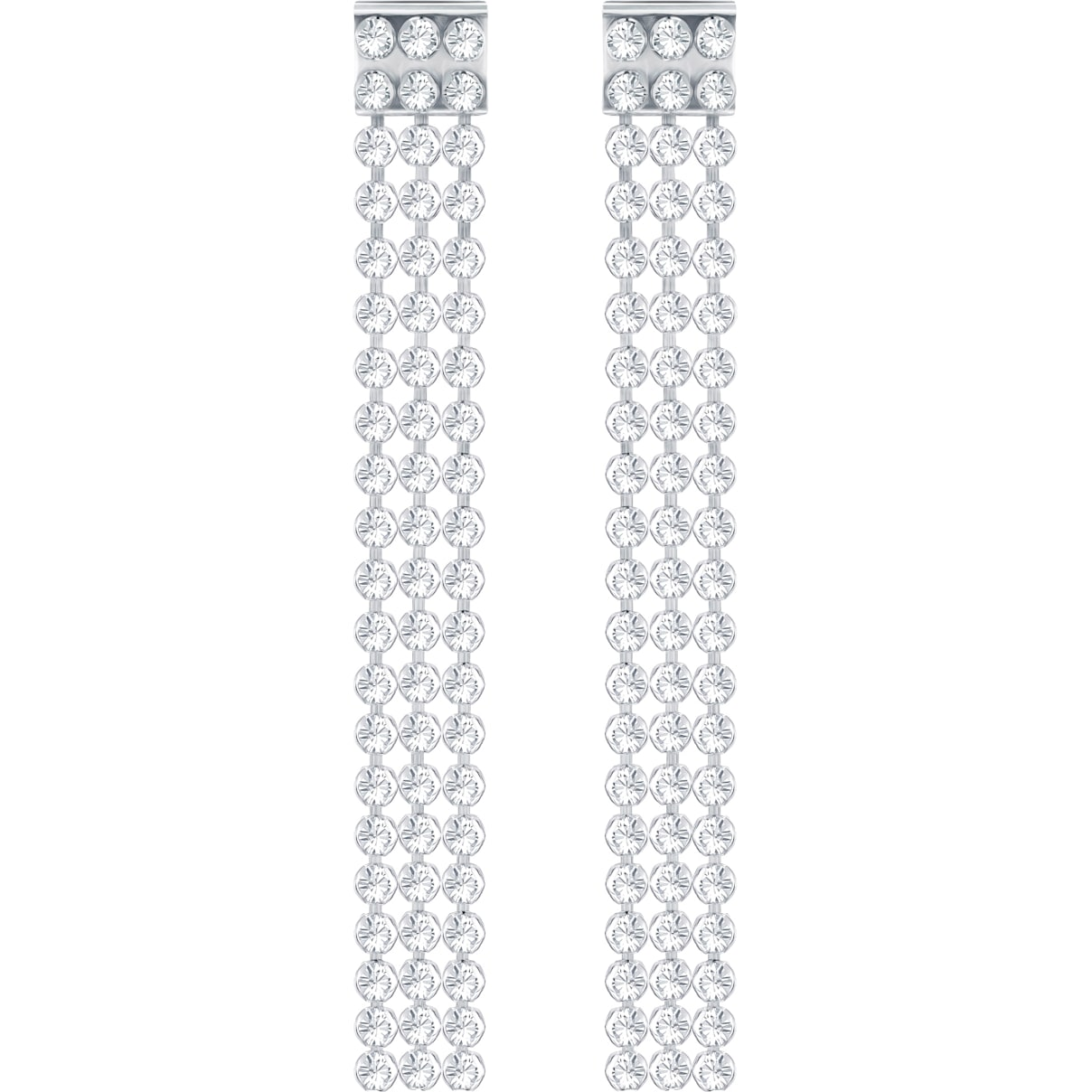 Swarovski Fit Long Pierced Earrings, White, Palladium Plating