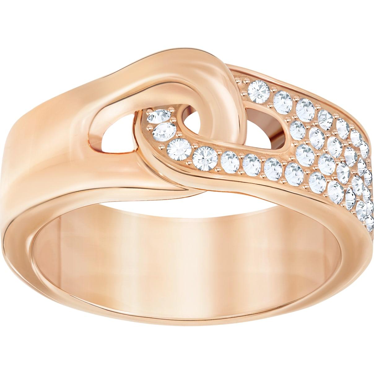 Swarovski Gallon Ring, White, Rose-gold tone plated
