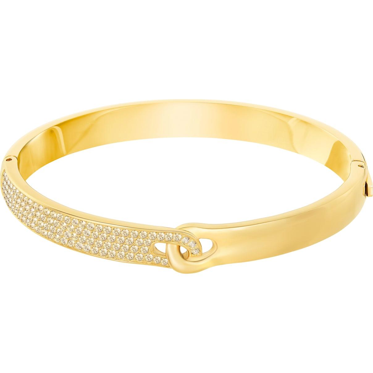 Swarovski Gallon Narrow Bangle, Golden, Gold-tone plated