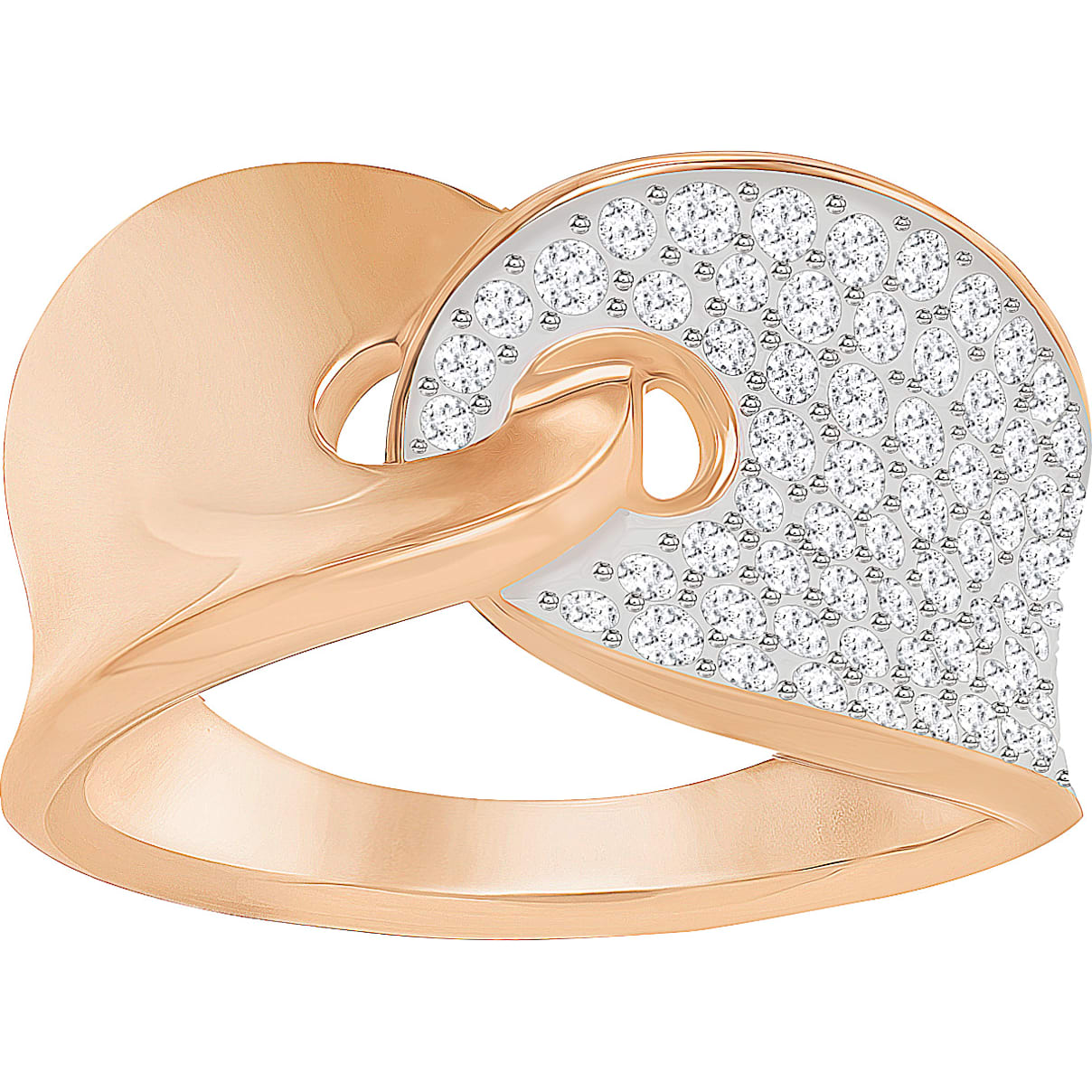 Swarovski Guardian Ring, White, Rose-gold tone plated