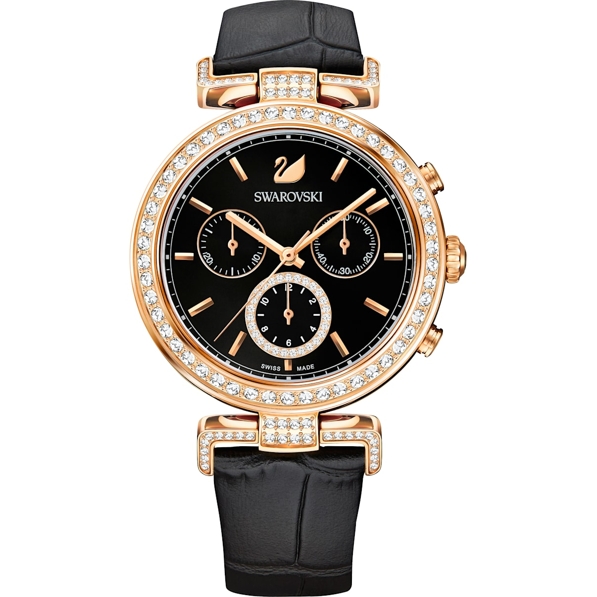 Swarovski Era Journey Watch, Leather strap, Black, Rose-gold tone PVD