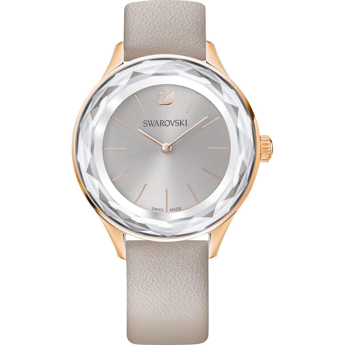 Swarovski Octea Nova Watch, Leather strap, Gray, Rose-gold tone PVD