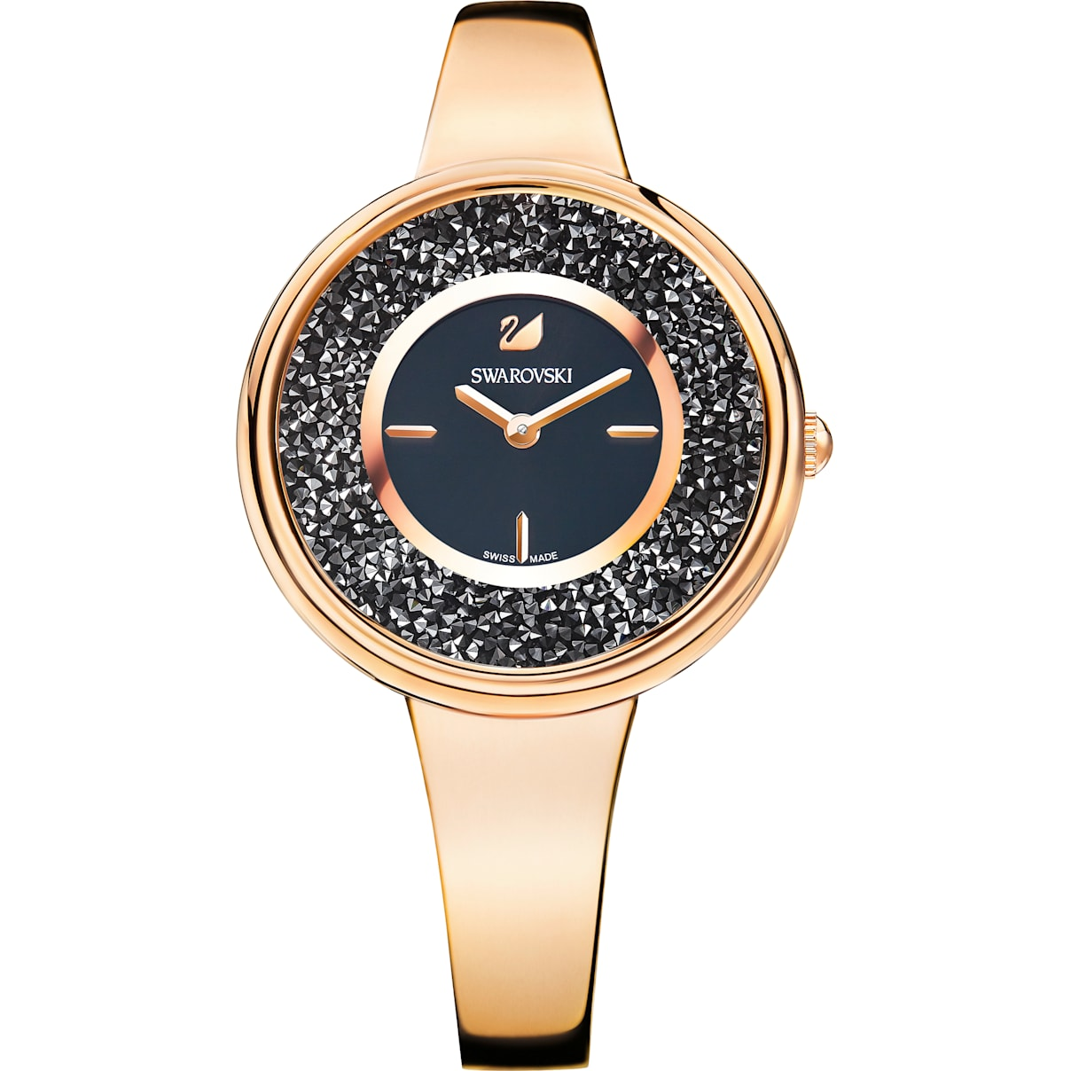 Swarovski Crystalline Pure Watch, Metal bracelet, Black, Rose-gold tone PVD