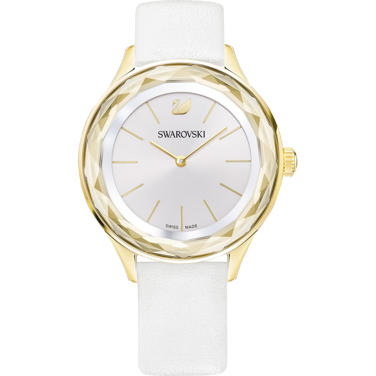 Swarovski Octea Nova Watch, Leather strap, White, Gold-tone PVD