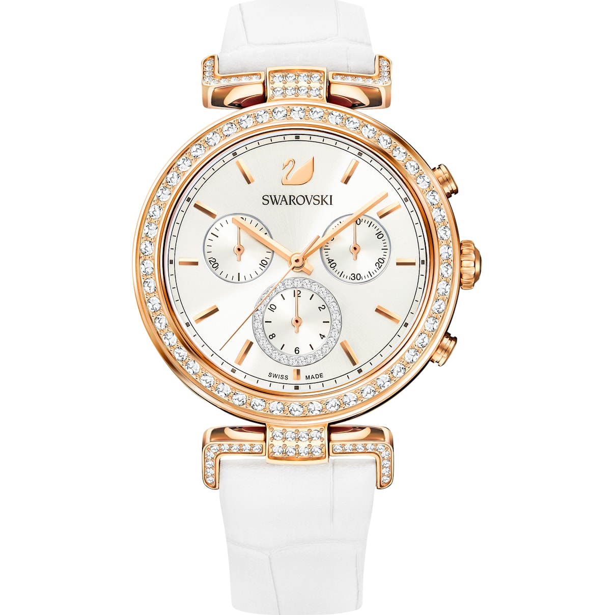 Swarovski Era Journey Watch, Leather strap, White, Rose-gold tone PVD