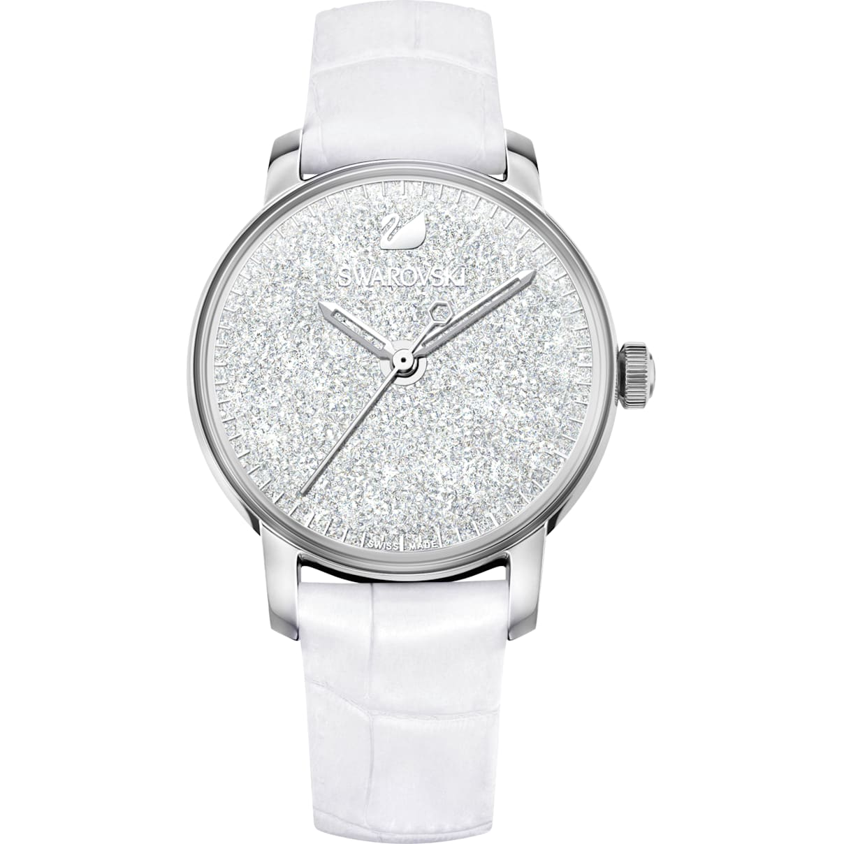 Swarovski Crystalline Hours Watch, Leather strap, White, Stainless steel