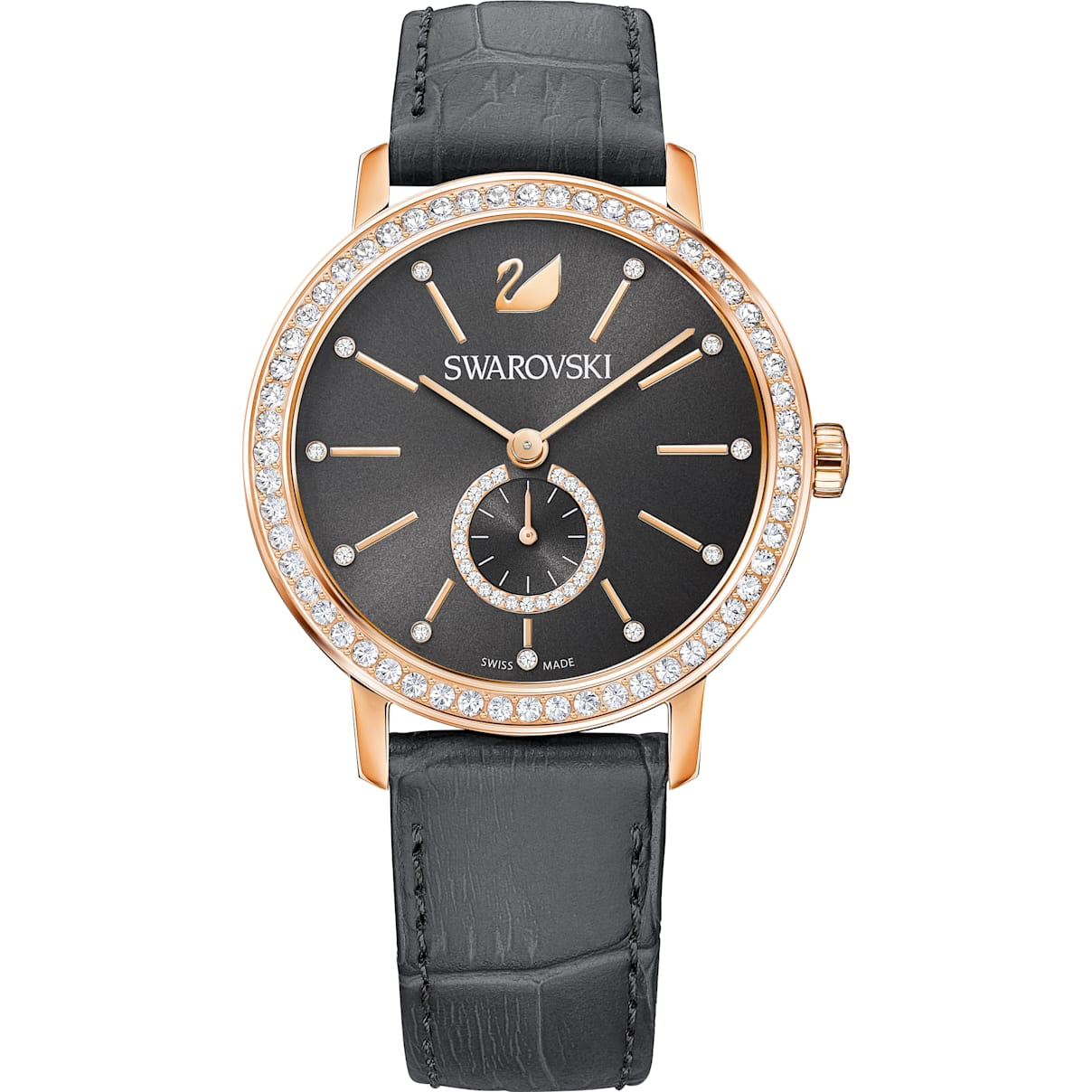 Swarovski Graceful Lady Watch, Leather strap, Gray, Rose-gold tone PVD