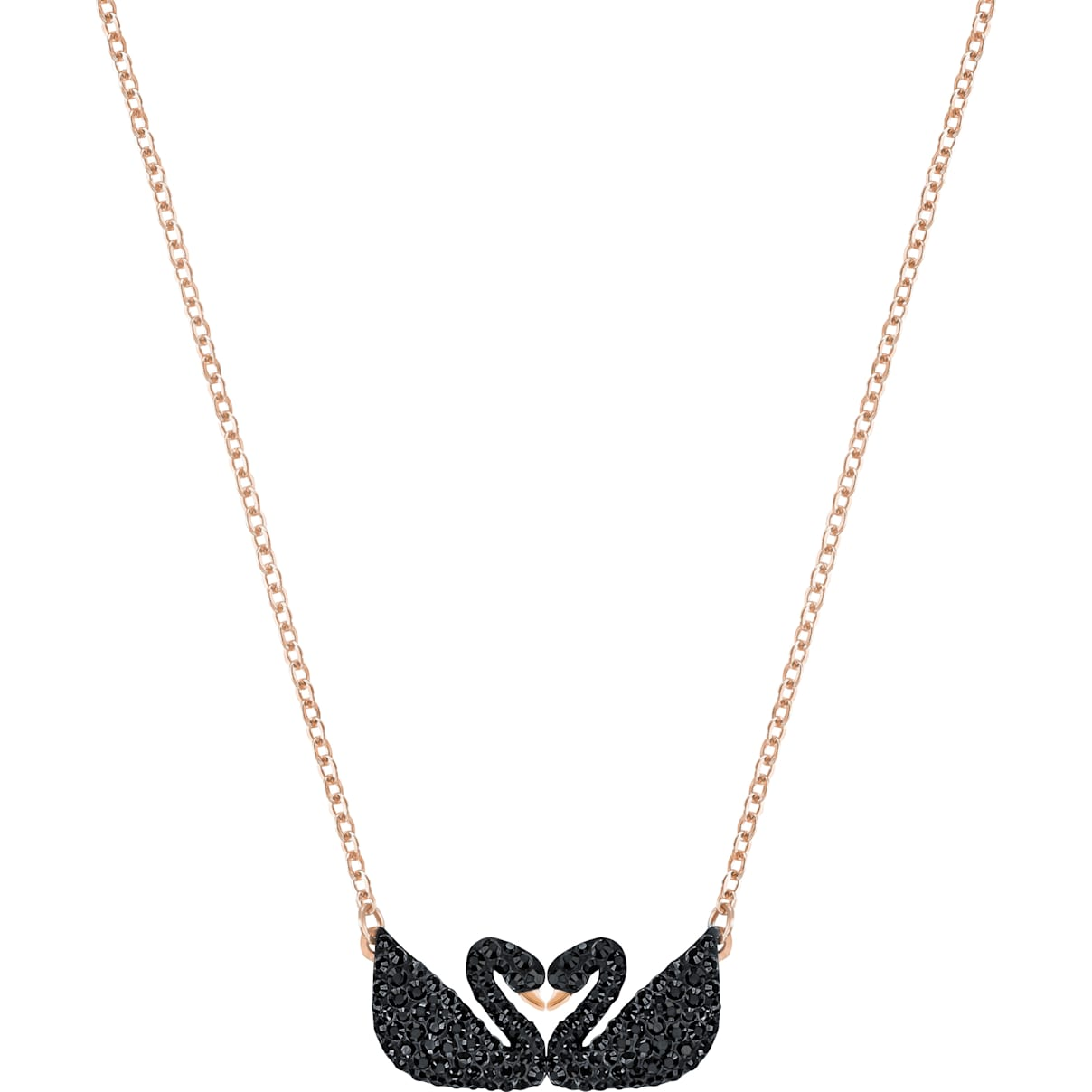 Swarovski Swarovski Iconic Swan Necklace, Black, Rose-gold tone plated