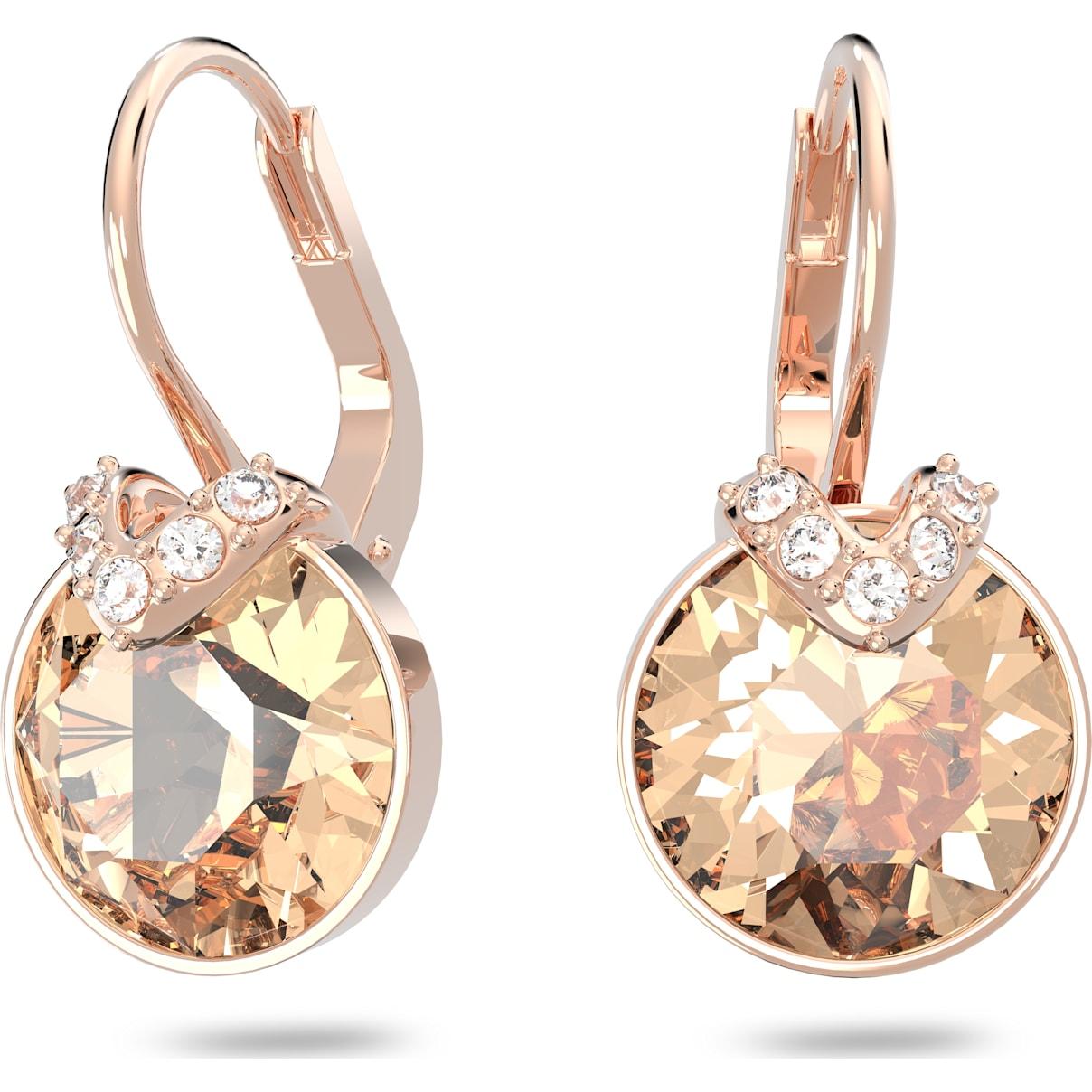 Swarovski Bella V Pierced Earrings, Pink, Rose-gold tone plated