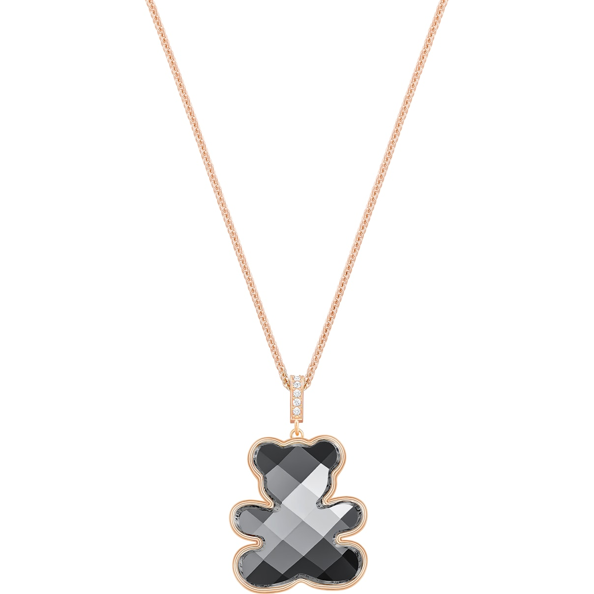 Swarovski Teddy Pendant, Black, Rose-gold tone plated