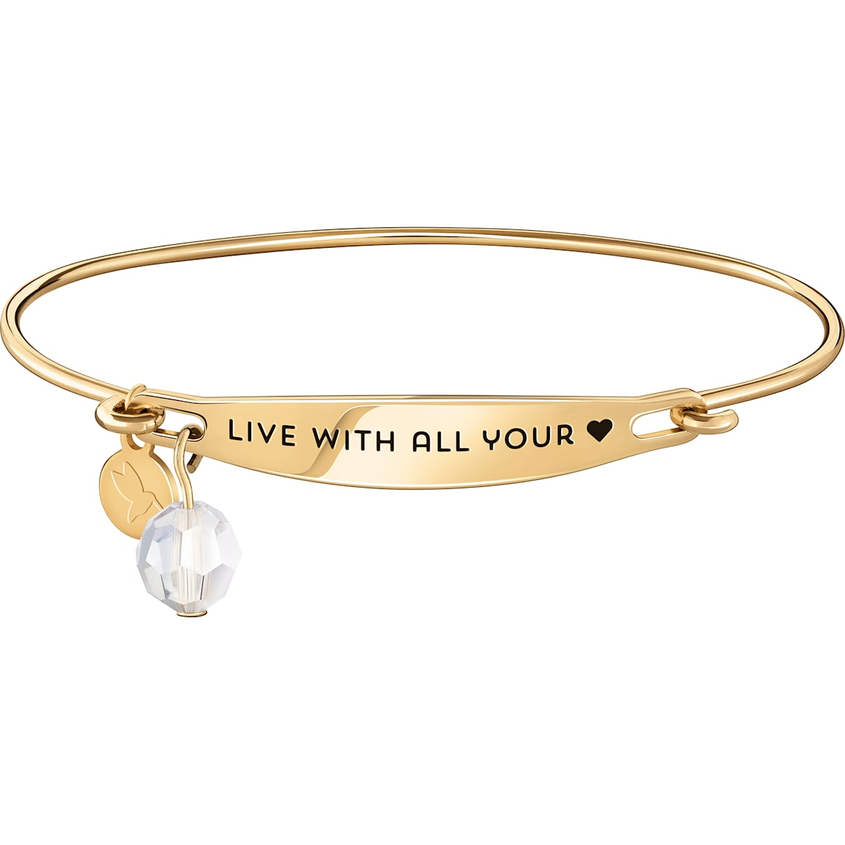 Swarovski Live With All Your Heart ID Bangle - Gold