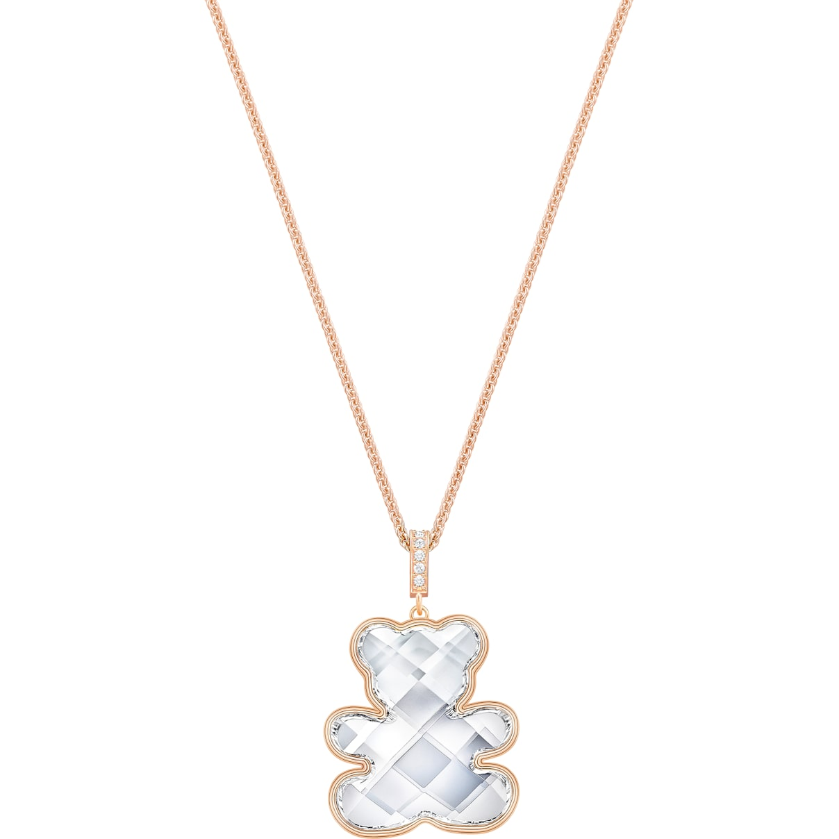 Swarovski Teddy Pendant, White, Rose-gold tone plated