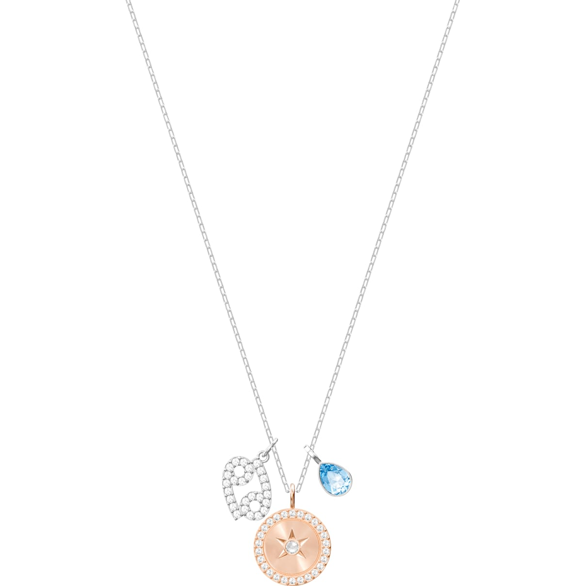 Swarovski Zodiac Pendant, Cancer, Aqua, Rhodium plated