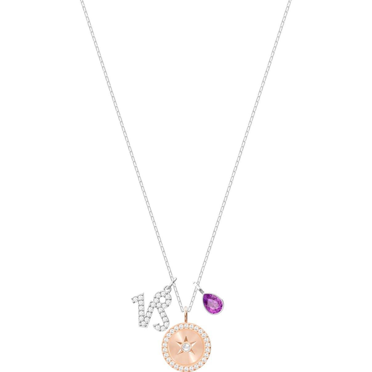 Swarovski Zodiac Pendant, Capricorn, Purple, Rhodium plated