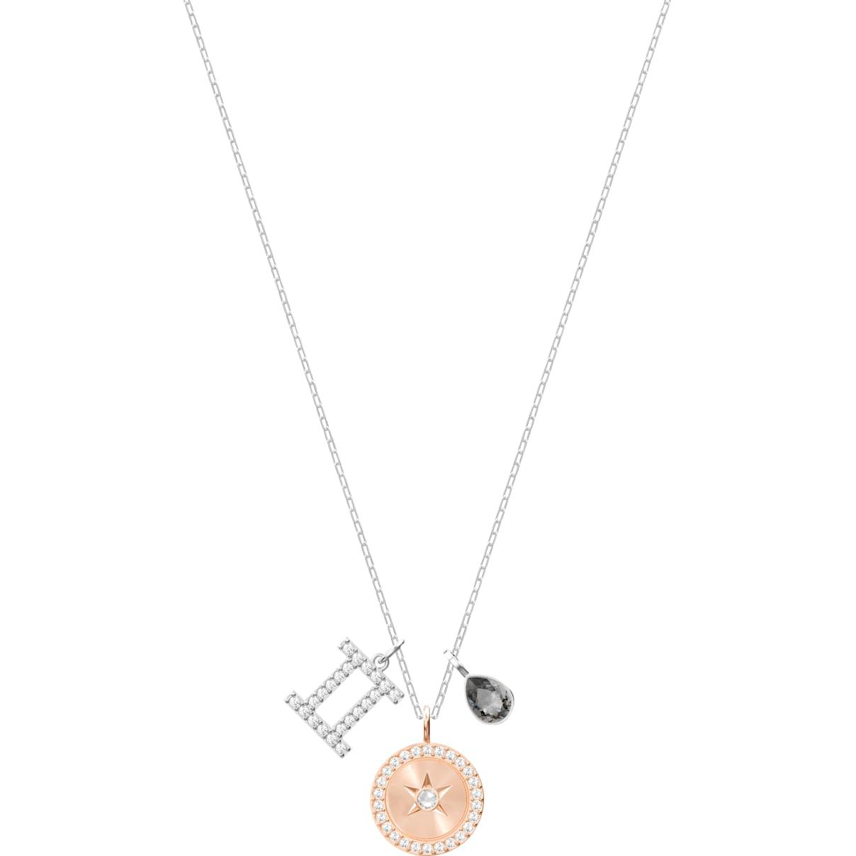 Swarovski Zodiac Pendant, Gemini, Gray, Rhodium plated