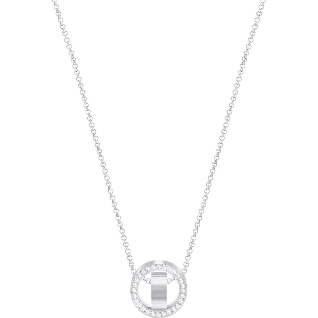 Swarovski Hollow Pendant, White, Rhodium plated