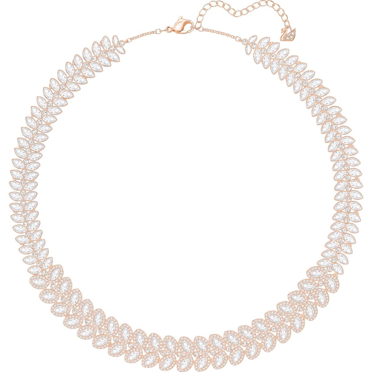 Swarovski Baron Necklace, White, Rose-gold tone plated