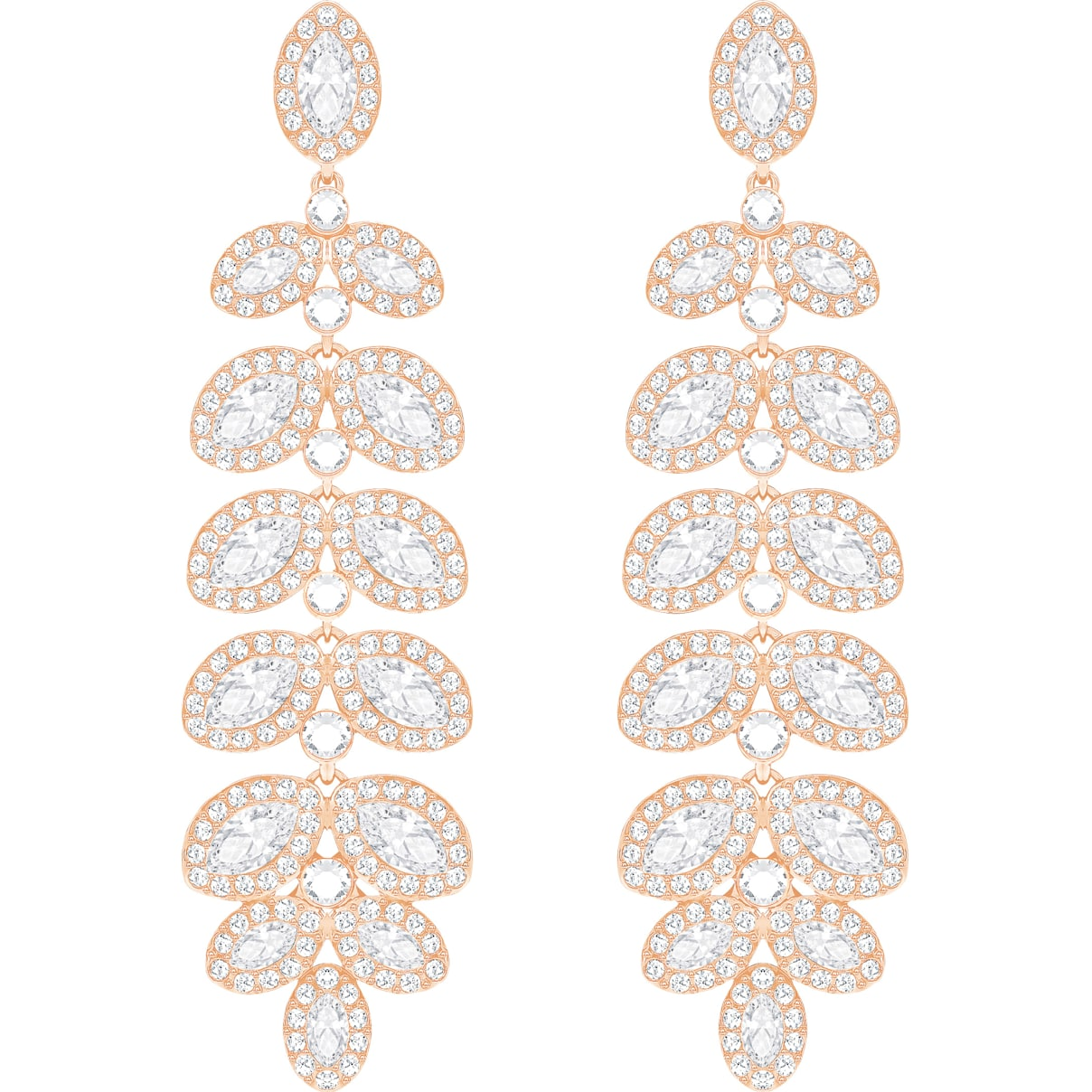 Swarovski Baron Pierced Earrings, White, Rose-gold tone plated
