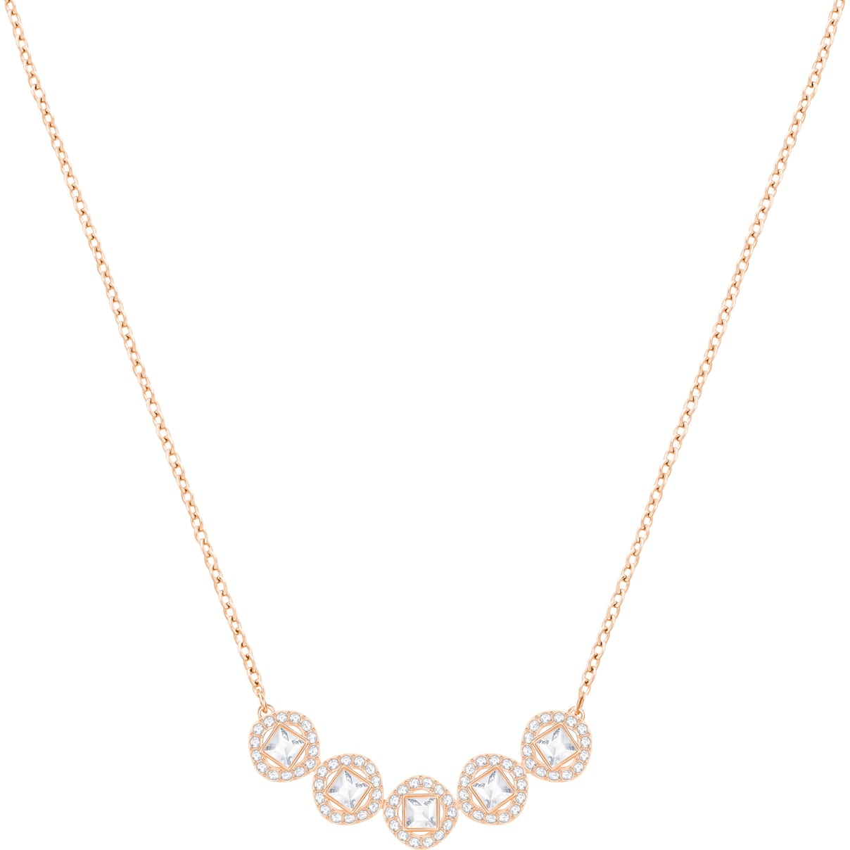 Swarovski Angelic Square Necklace, White, Rose-gold tone plated
