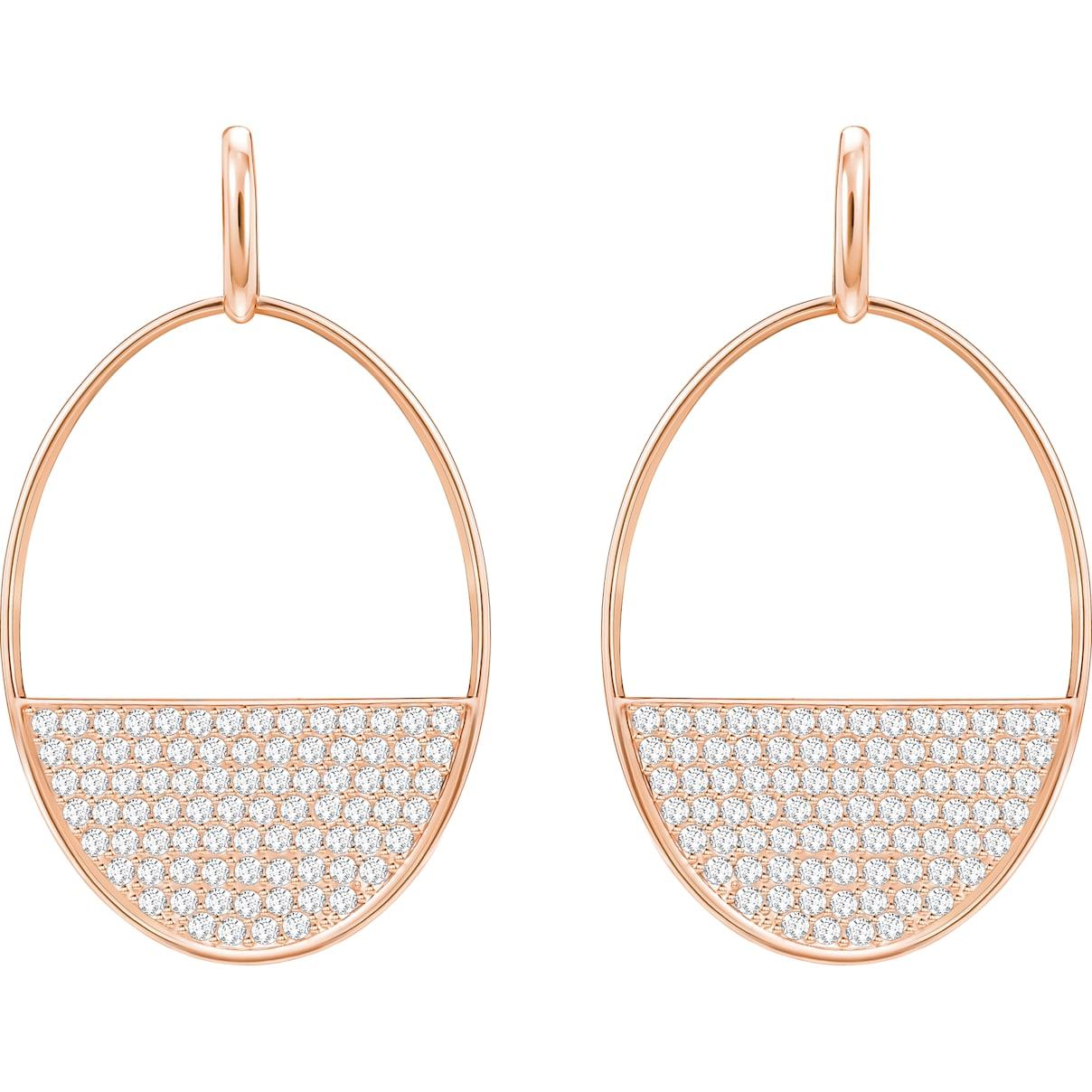 Swarovski Ginger Pierced Earrings, White, Rose-gold tone plated