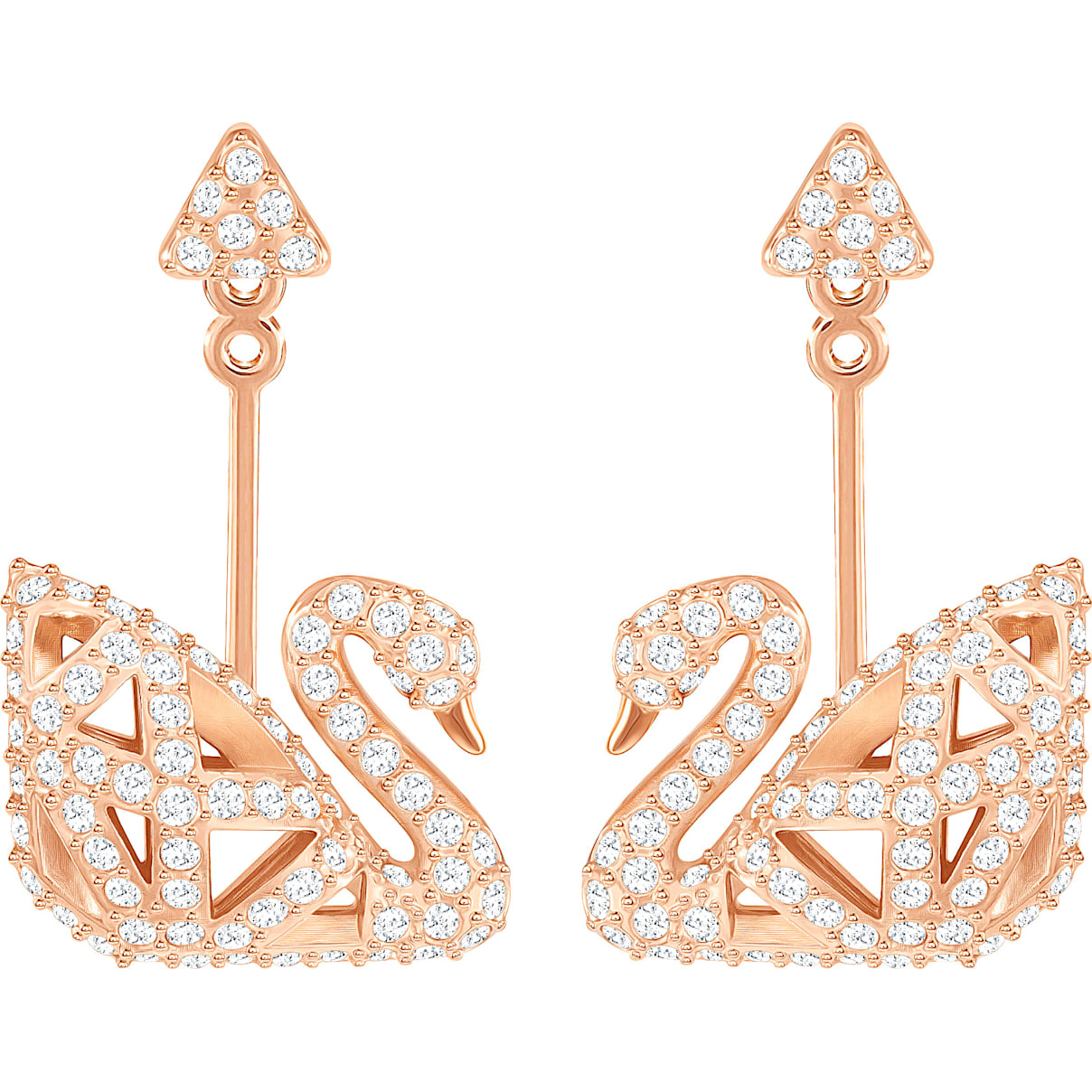 Swarovski Facet Swan Pierced Earrings, White, Rose-gold tone plated