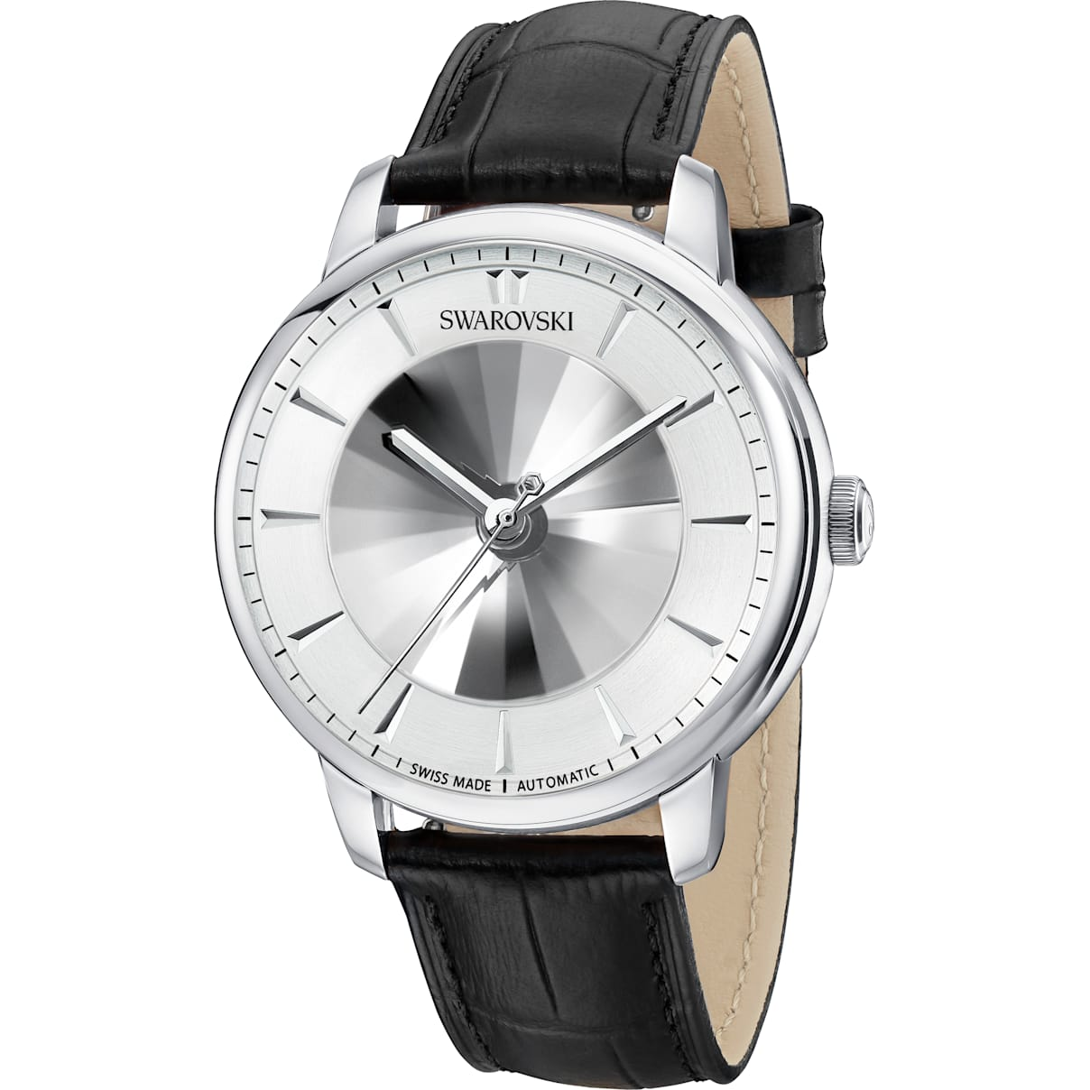 Swarovski Atlantis Limited Edition Automatic Men's Watch, Leather strap, White, Stainless steel