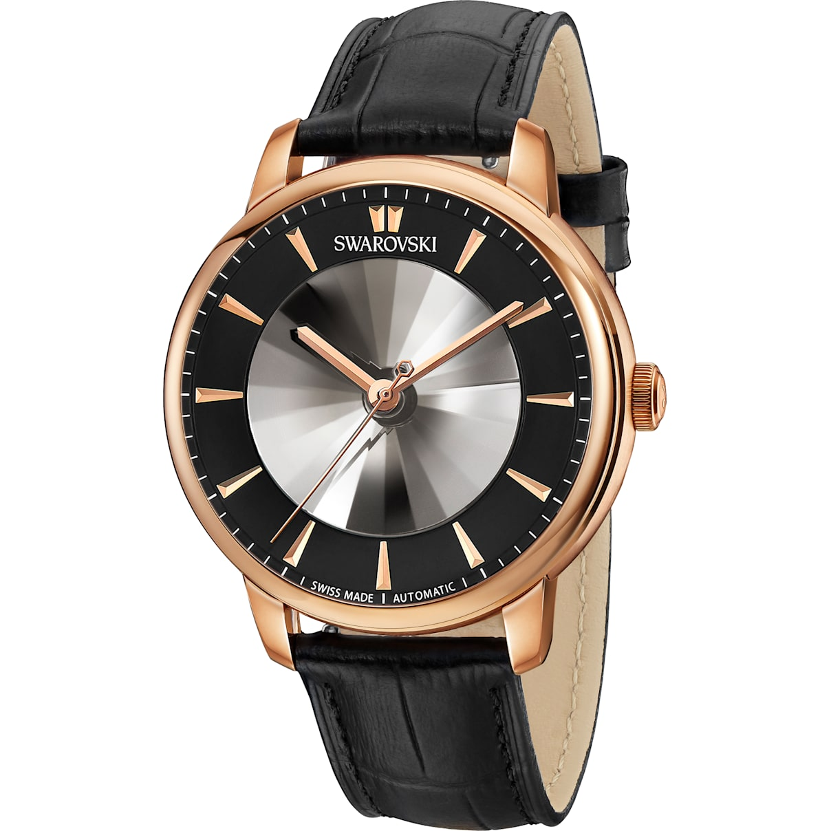 Swarovski Atlantis Limited Edition Automatic Men's Watch, Leather strap, Black, Rose-gold tone PVD