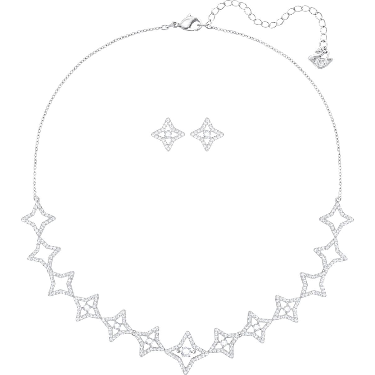Swarovski Sparkling Dance Star Set, Medium, White, Rhodium plating