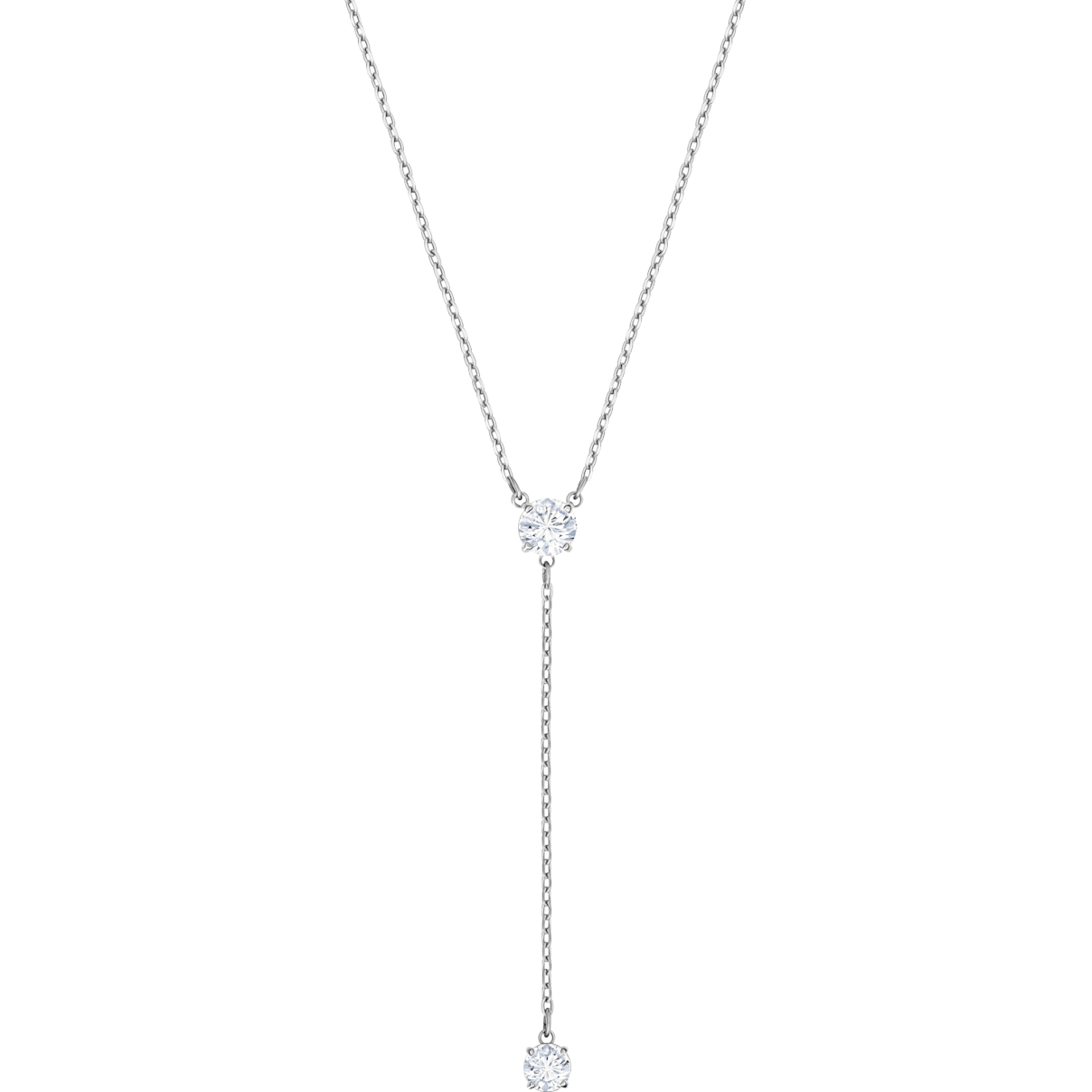 Swarovski Attract Y Necklace, White, Rhodium plated