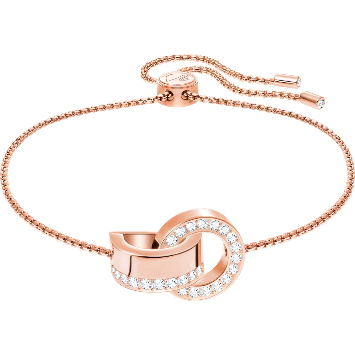 Swarovski Hollow Bracelet, White, Rose-gold tone plated