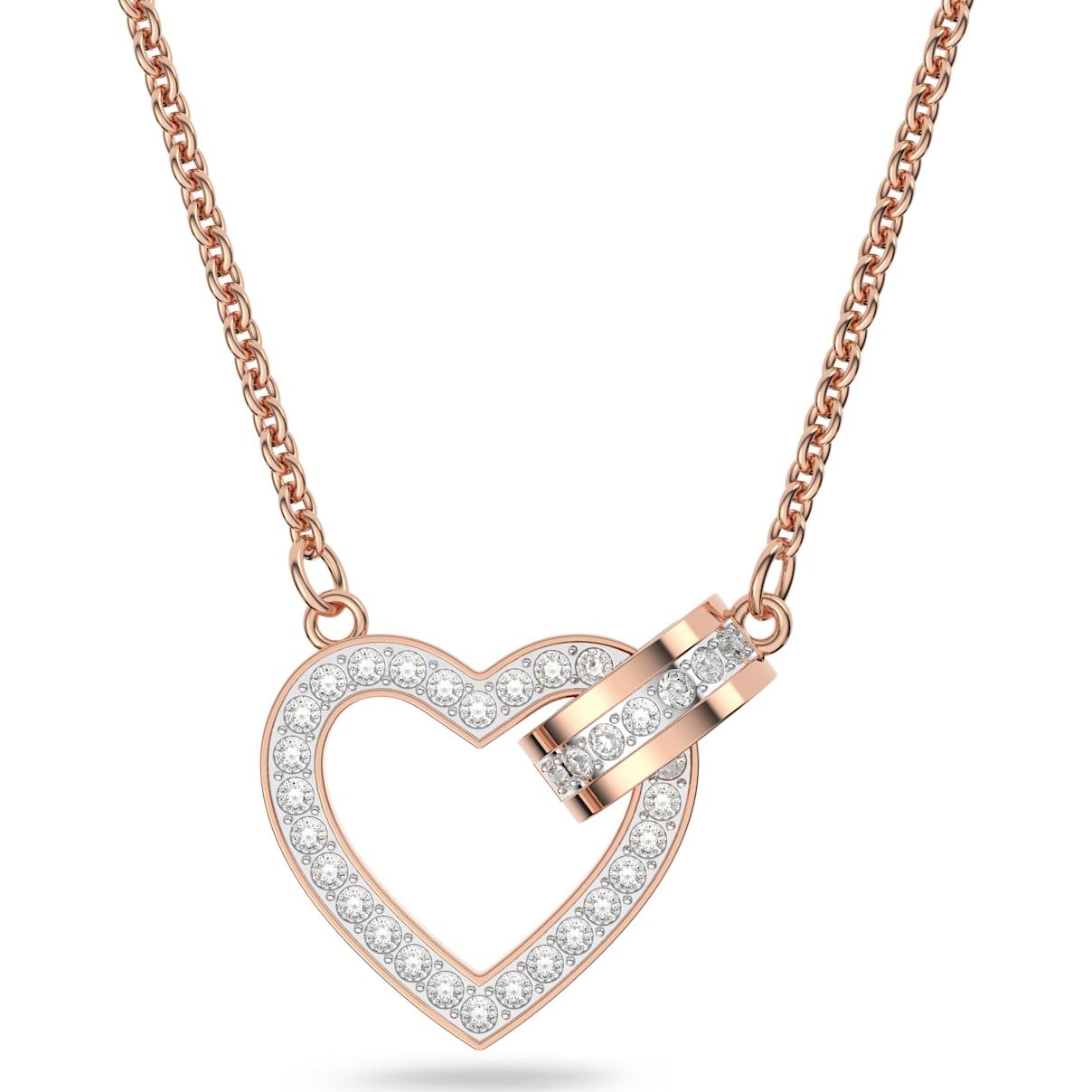 Swarovski Lovely Necklace, White, Rose-gold tone plated
