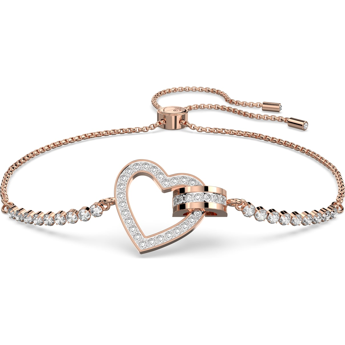 Swarovski Lovely Bracelet, White, Rose-gold tone plated