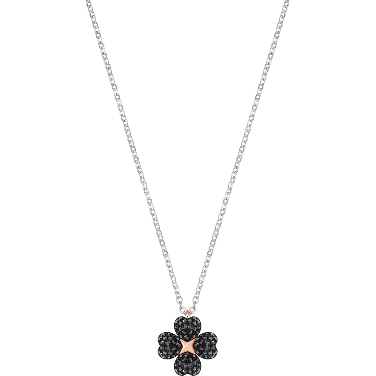 Swarovski Latisha Flower Pendant, Black, Mixed metal finish