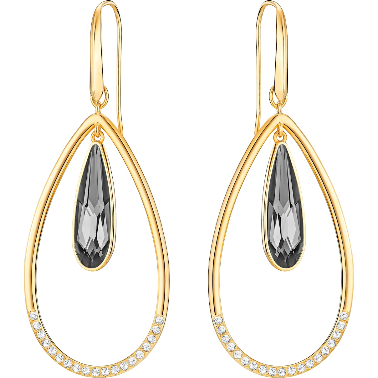 Swarovski Lisanne Hoop Pierced Earrings, Gray, Gold-tone plated