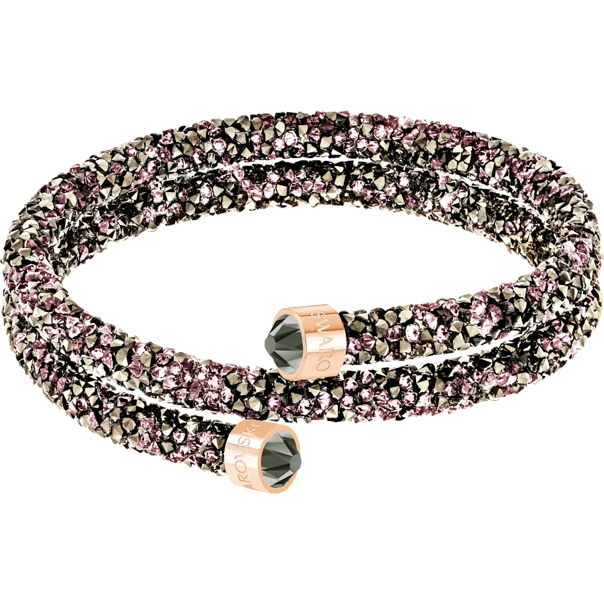 Swarovski Crystaldust Double Bangle, Multi-colored, Rose-gold tone plated