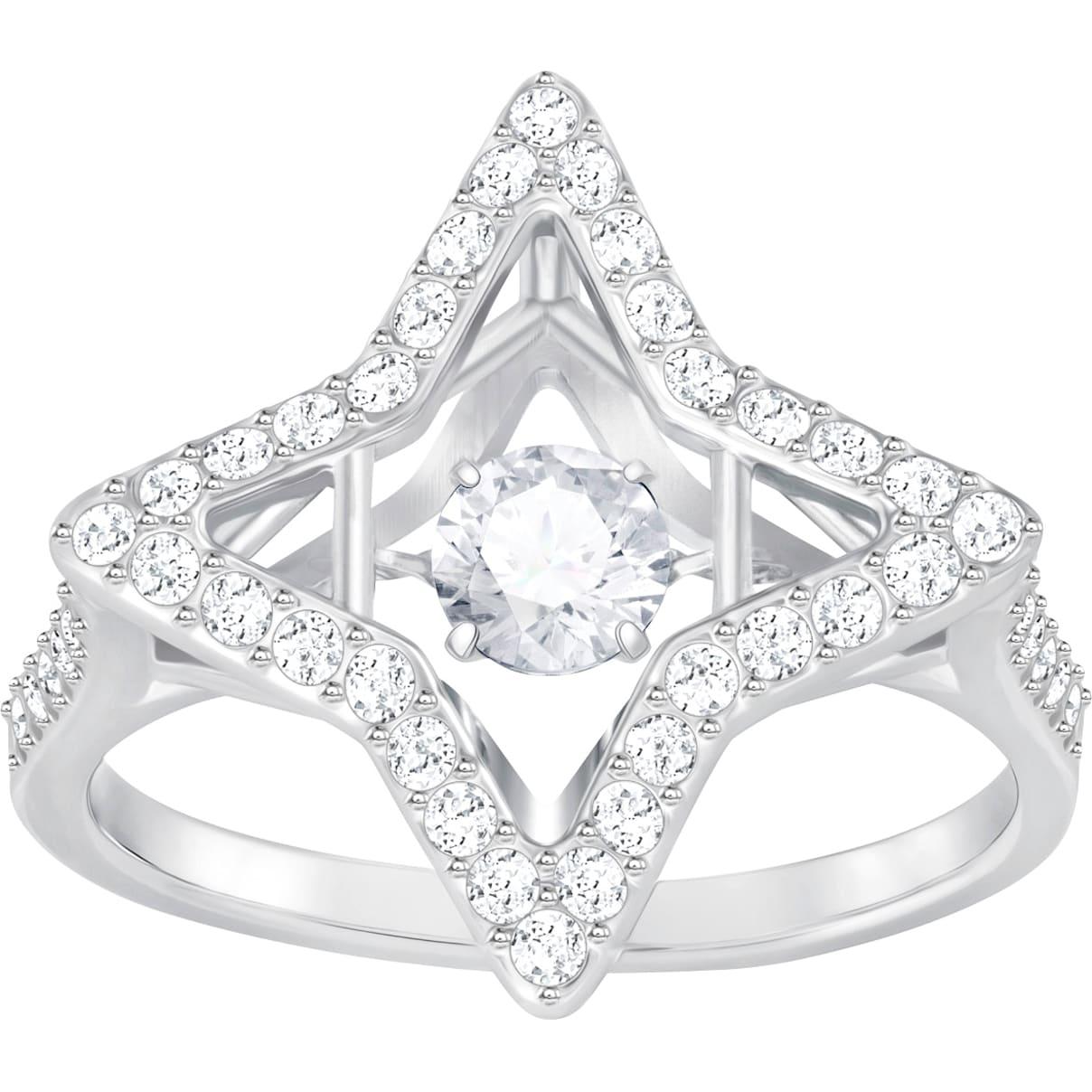 Swarovski Sparkling Dance Star Ring, White, Rhodium plated