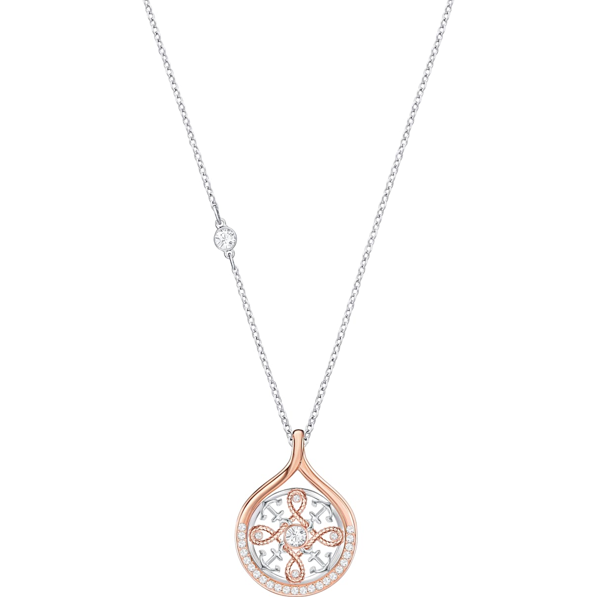 Swarovski Humanist Anchor and Knot Pendant, White, Mixed metal finish