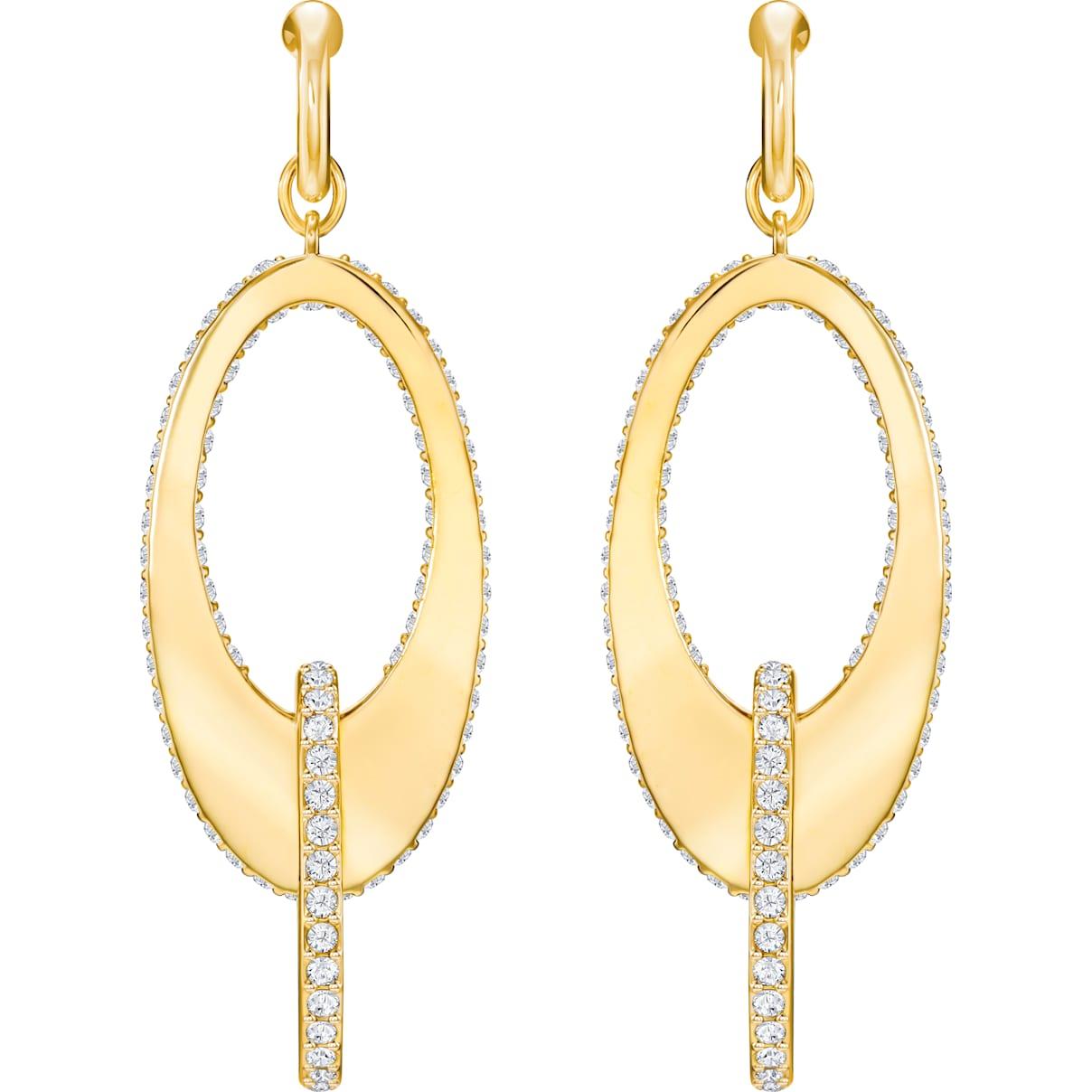Swarovski Lakeside Hoop Pierced Earrings, White, Gold-tone plated