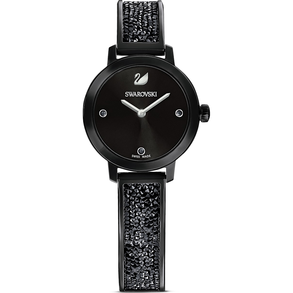 Swarovski Cosmic Rock Watch, Metal bracelet, Black, Black PVD