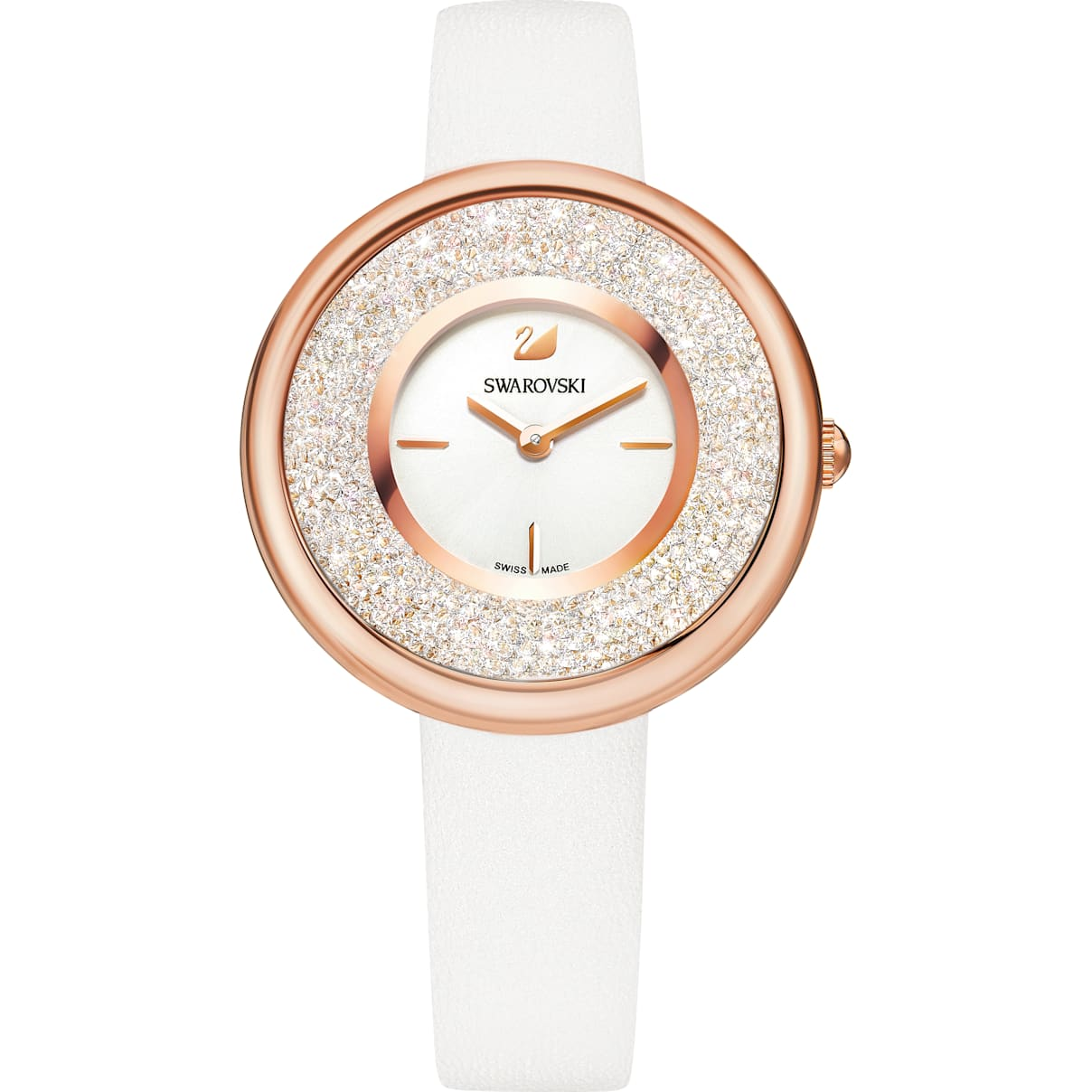 Swarovski Crystalline Pure Watch, Leather strap, White, Rose-gold tone PVD