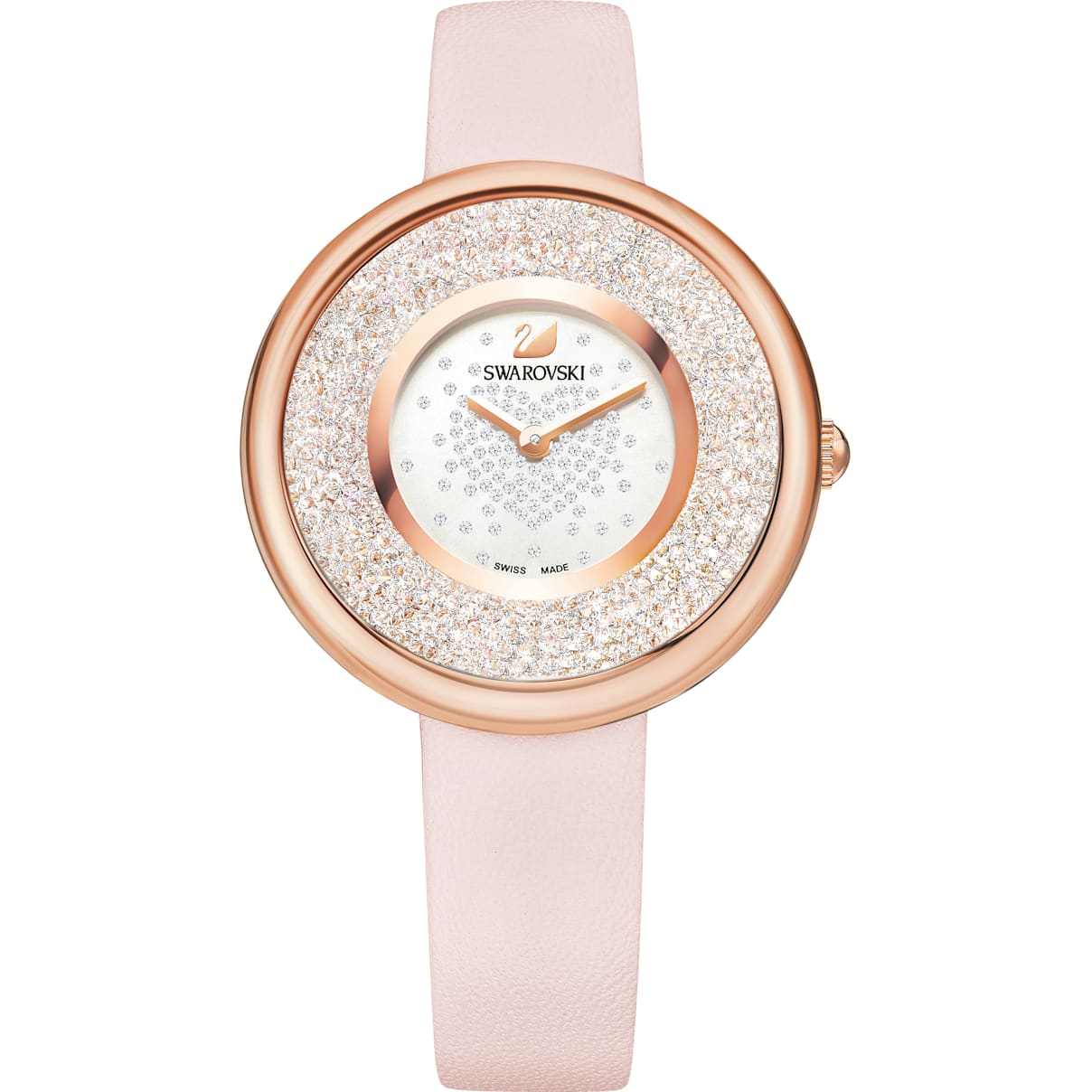Swarovski Crystalline Pure Watch, Leather strap, Pink, Rose-gold tone PVD