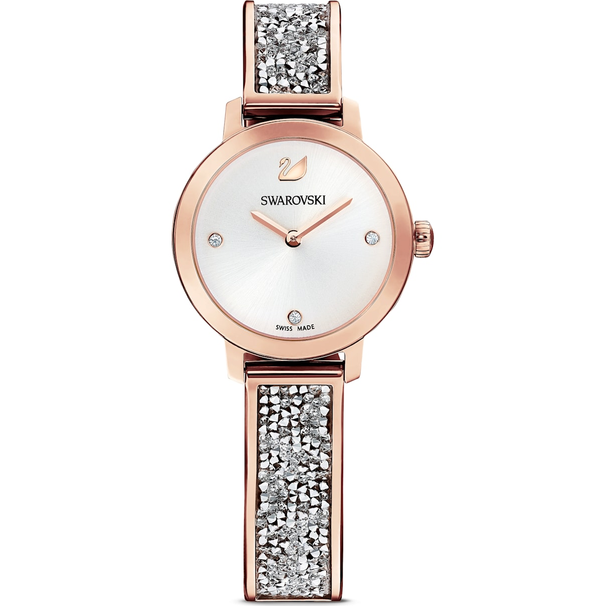 Swarovski Cosmic Rock Watch, Metal bracelet, Gray, Rose-gold tone PVD
