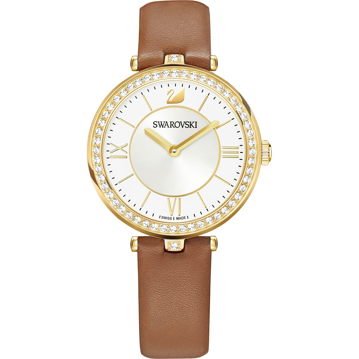 Swarovski Aila Dressy Lady Watch, Leather strap, Brown, Gold-tone PVD