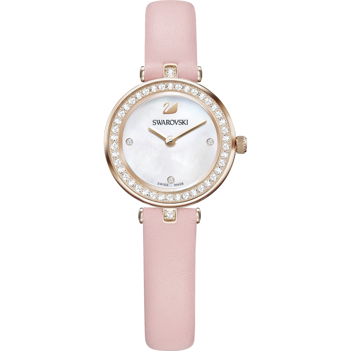 Swarovski Aila Dressy Mini Watch, Leather strap, Pink, Champagne-gold tone PVD