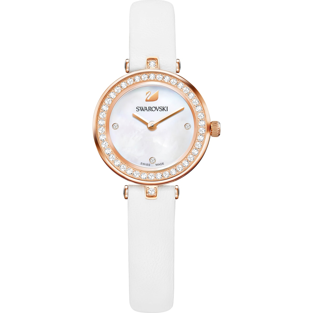 Swarovski Aila Dressy Mini Watch, Leather strap, White, Rose-gold tone PVD