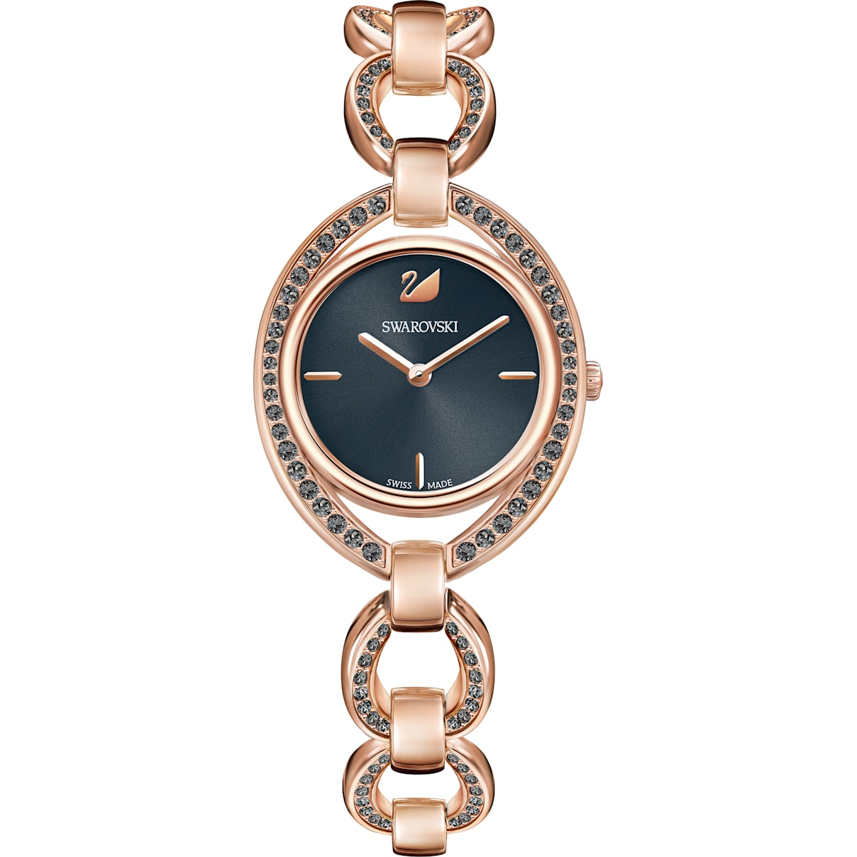 Swarovski Stella Watch, Metal bracelet, Dark gray, Rose-gold tone PVD